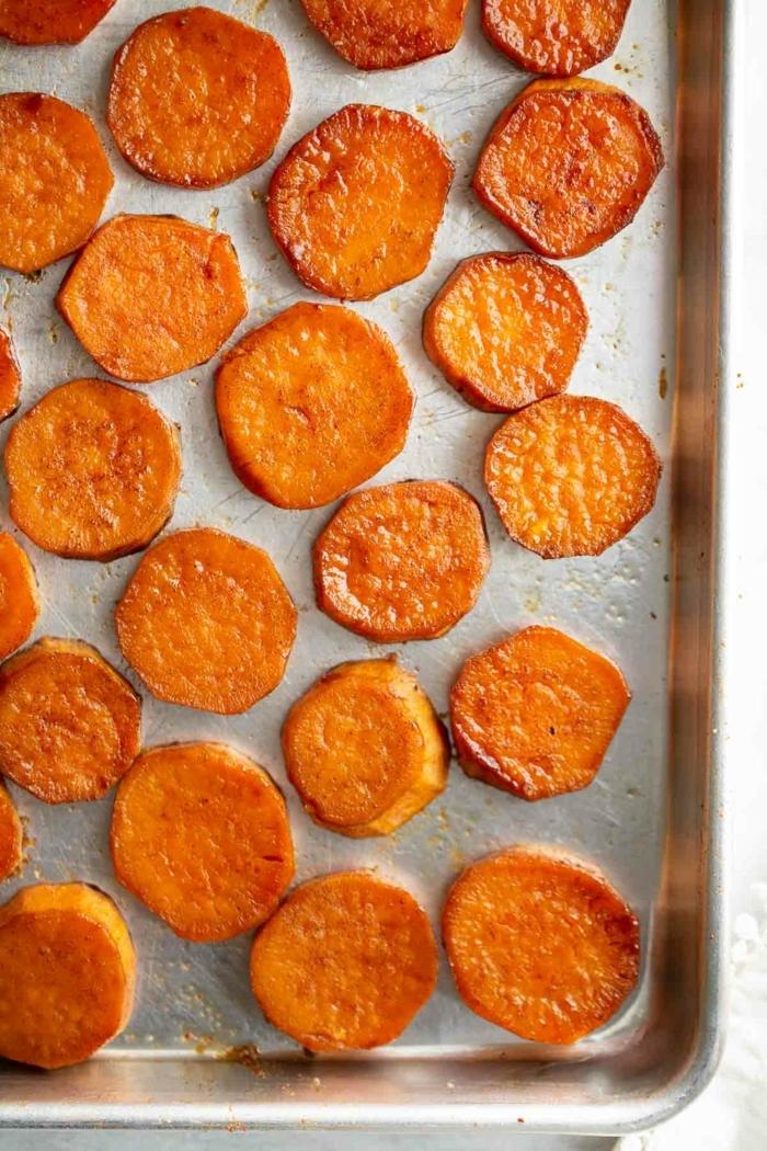 kartoffelchips selber machen backoffen chips aus süßkartoffeln zubereiten partyrezepte schnelles party essen