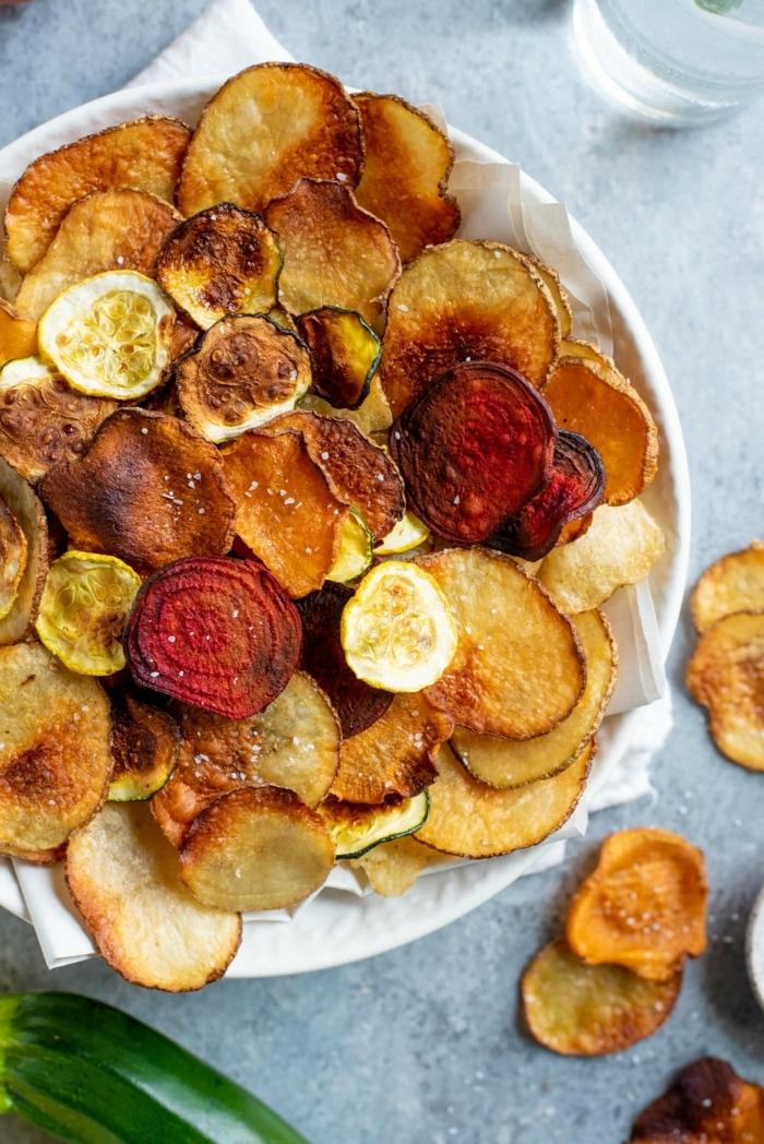 kartoffelchips selber machen backoffen gesunde chips aus gemüse rote beete zucchini kartoffeln