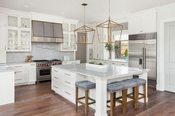 küche modern groß kücheninsel arbeitplatte schubladen l form weiß edelstahl