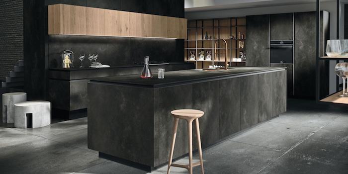 küche schwarz holz küchenlösung große küche ikea