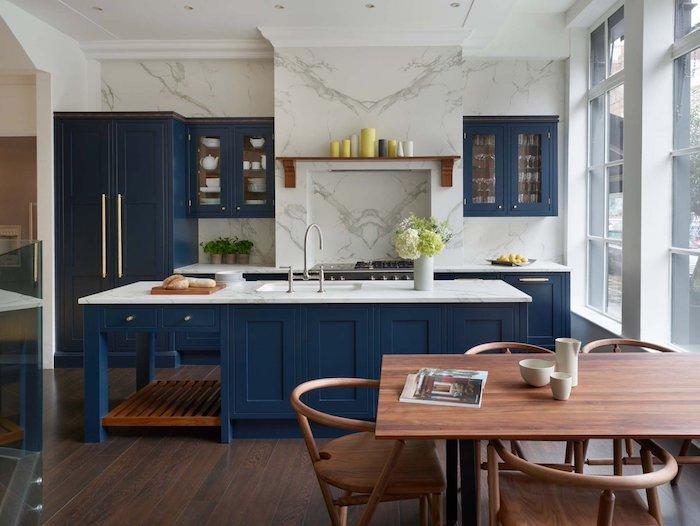küchenlösungen für kleine küchen ikea küche inspiration marmor blau holz