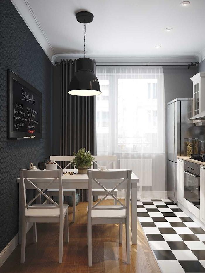 küchenlösungen für kleine küchen küche mit wohnzimmer kombinieren terrakotta holzdecke fenster schwarz weiß