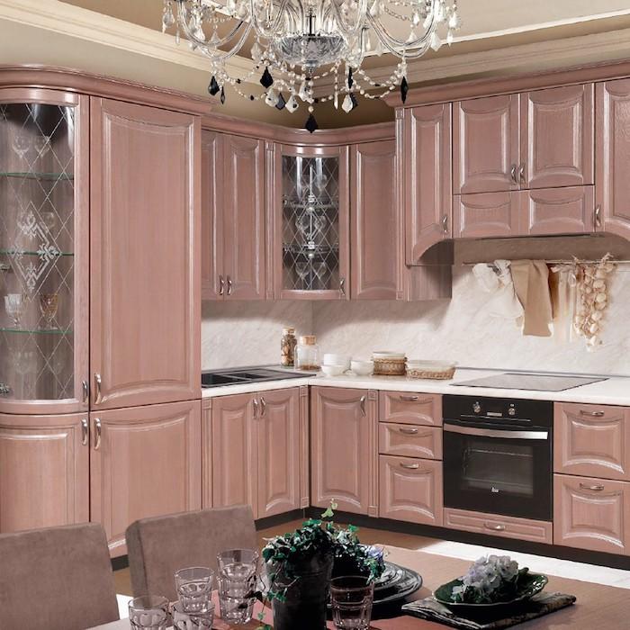 landhausküche ikea küchengestaltung inspiration l form rosa mit marmorweiß