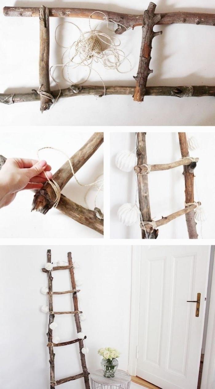 leiter aus birkenholz selber machen diy anleitung schritt für schritt dekoriert mit kleinen lichtern wohnung einrichten modern ideen dekoration