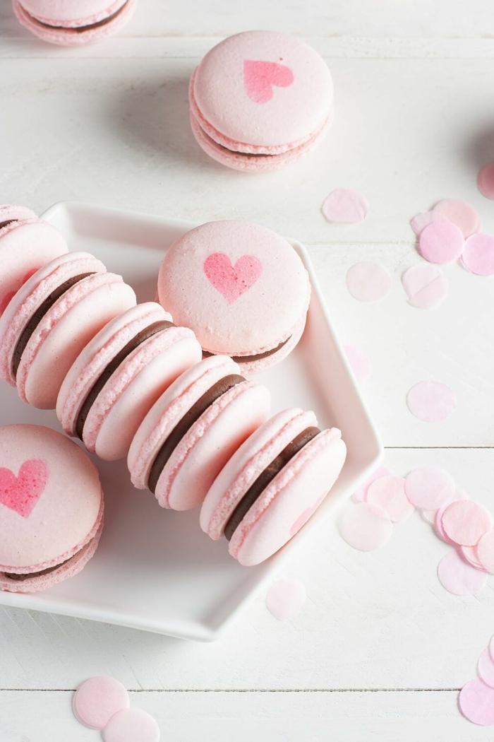 macarons rezept füllung mit schokolade geschenke aus der küche zum valentinstag