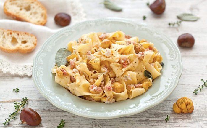 maronen zubereiten kochen esskastanien rezepte pasta mit kastanien schinken und grappa
