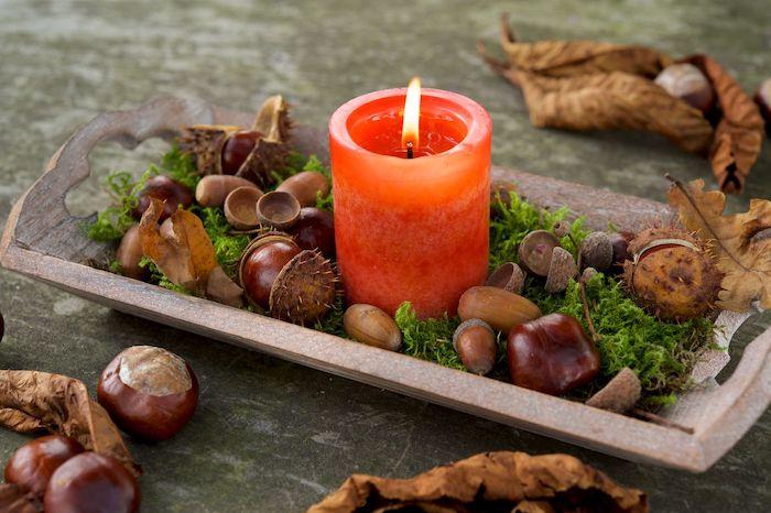 maronen zubereiten rosskastanien ideen für herbst schmuck rote kerze mit wilden kastanien