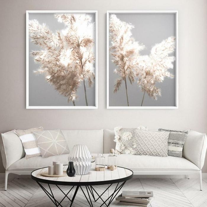 pampasgras deko bestellen bilder mit trockengras zimmerdeko in weiß moderne wohnzimmereinrichtung wohnzimmer wanddeko