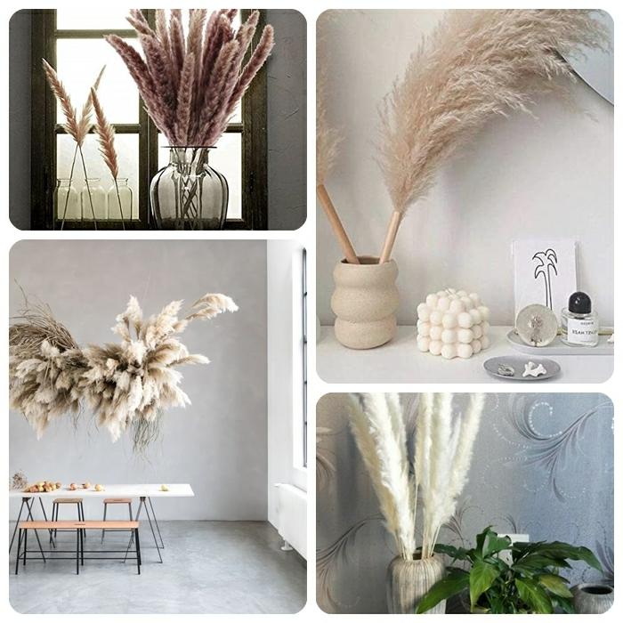 pampasgras deko bestellen trocknblumenstrauß ideen trockblumen als zimmerdeko dekoideen wohnung moderne zimmerdeko