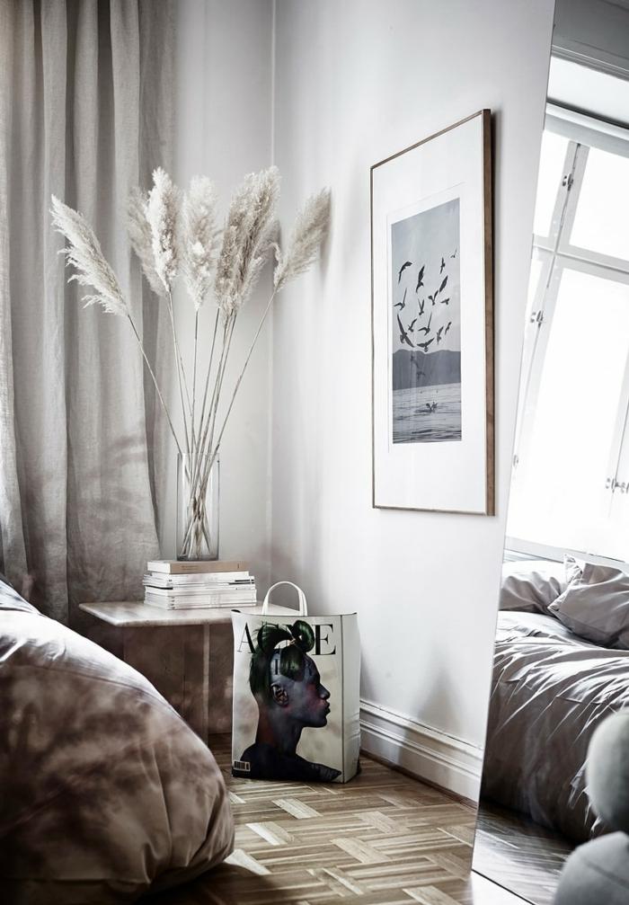 pampasgras getrocknet deko skandinavische dekoraition ideen skandi zimmer graues trockngras wohnungsdekoration