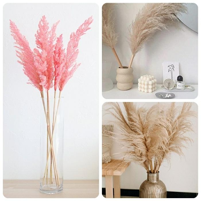 pampasgras rosa deko getrocknetes gras vasen mit trockblumen dekoideen fürs zimmer zimmerdeko