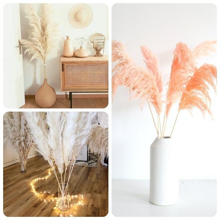pampasgras rosa deko weiße vase lichterkette zimmerdekoration mit trockenblumen blumendeko