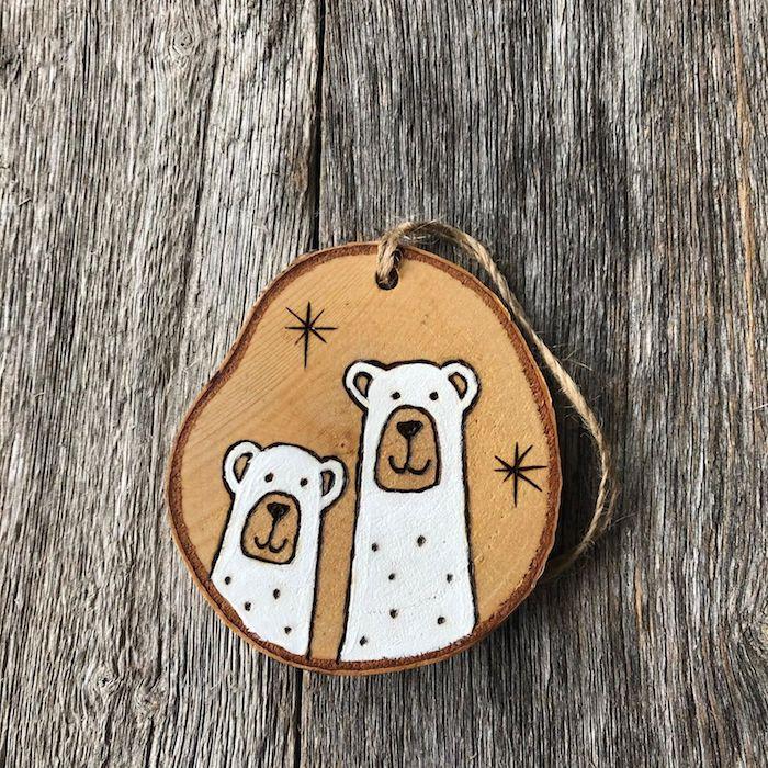 runde holzscheiben basteln klein wintermotiv zwei eisbeeren kleines geschenk