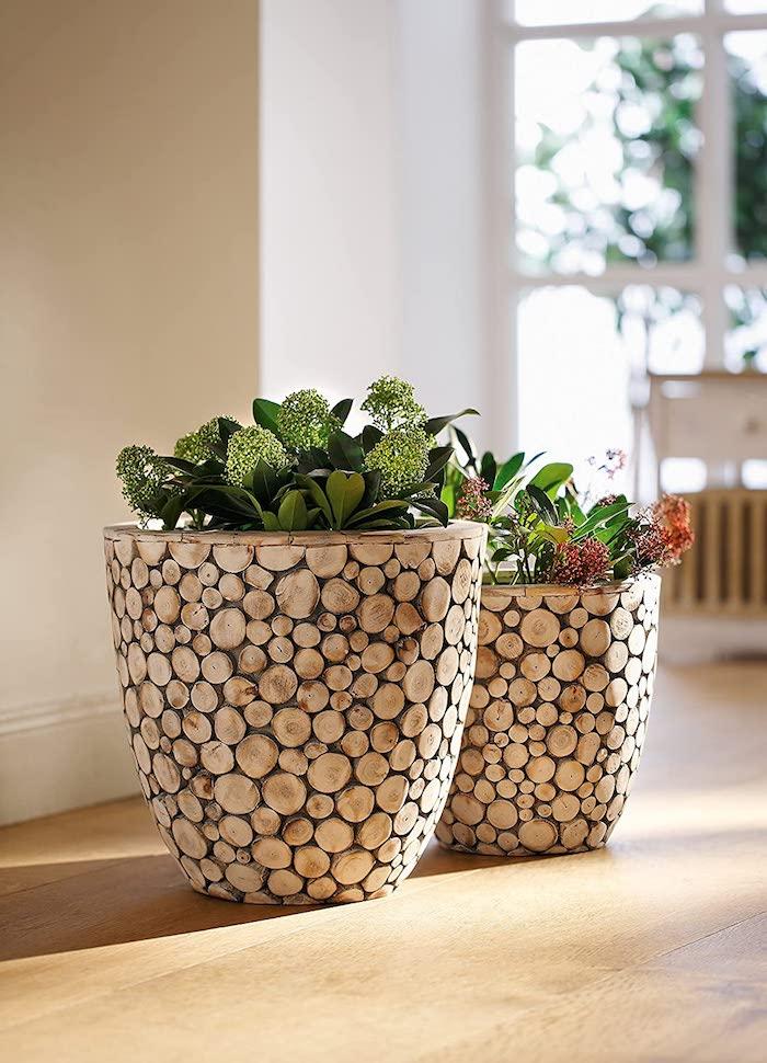 runde holzscheiben klein blumentöpfe selber machen aufkleben pflanzen