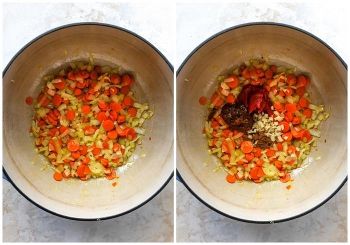 schritt für schritt anleitung für eine cremige kürbissuppe mit möhren zutaten schneiden eine schüssel mit möhren und knoblauch