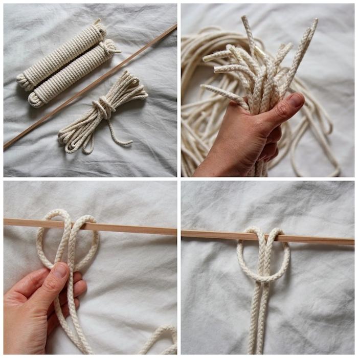 schritt für schritt diy Makramee Traumfänger anleitung mit weißem seil deko artikel selber machen kreative bastelideen
