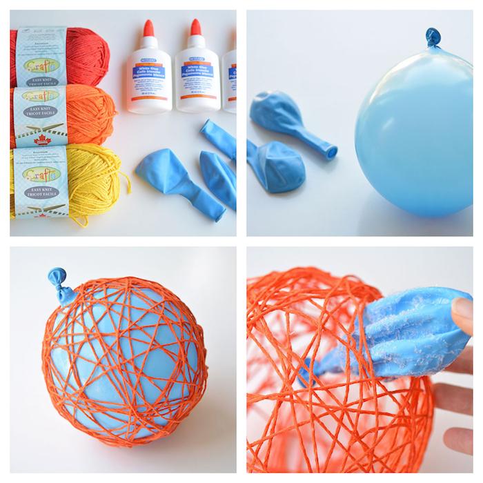 selber machen diy halloween deko mit kindern balloon und garn