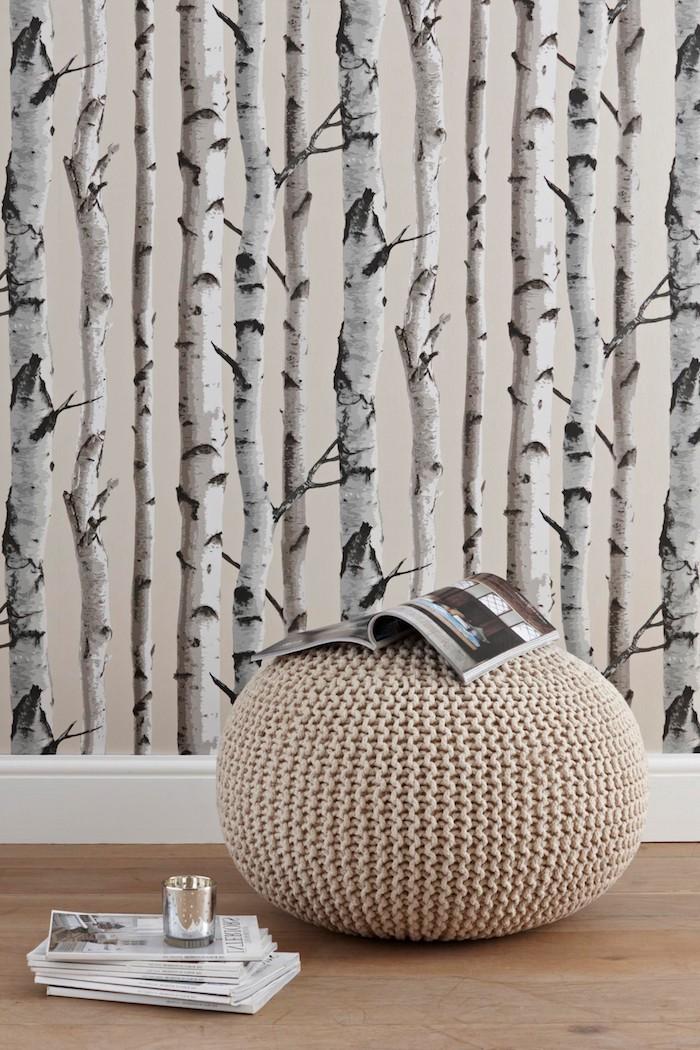 tapeten ideen mit birkenbäumen großer beiger sitzkissen minimalistische inneneinrichtung inspiration aufgestapelte magazine birkenstamm deko wohnzimmer