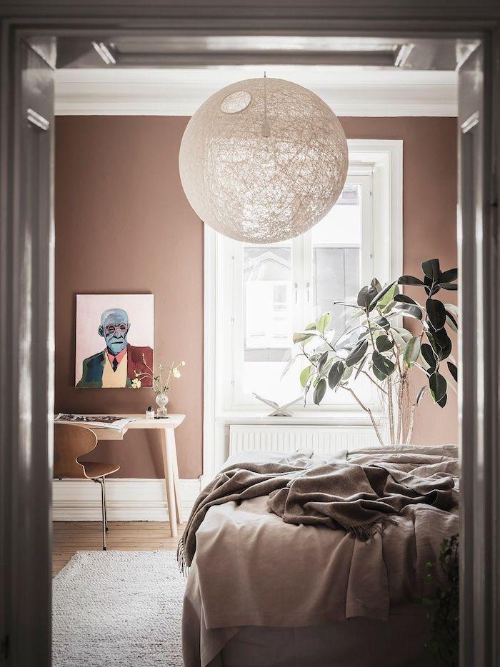 wandfarbe altrosa innenausstattung schlafzimmer buntes bild an die wand deko grüne pflanze skandinavische einrichtung pinterest inpsiration minimalistische einrichtung wohnung