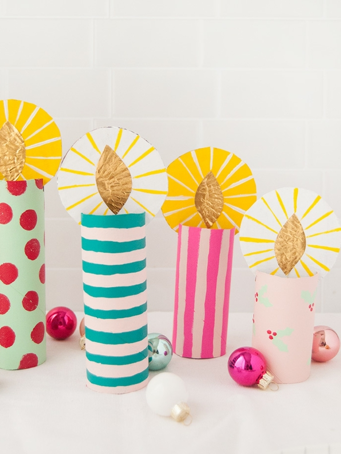 0 weihnachten basteln mit kindern zum advent selsbgtemachte weihanchtsdeko kerzen aus buntem papier papierkerzen weihanchtskerzen