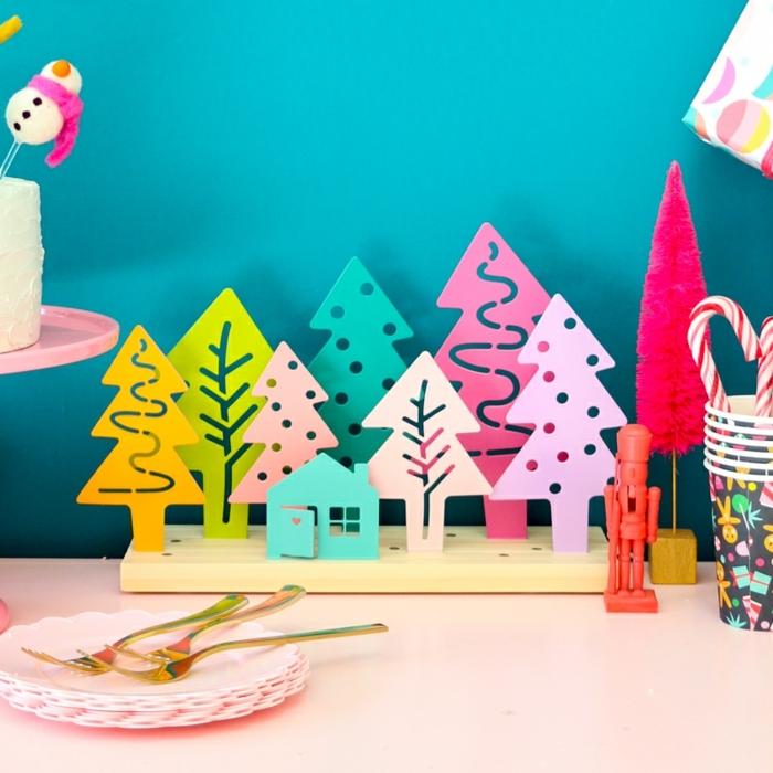 0 weihnachten basteln mit kindern zum advent weihnachtsbäume in verschiedenen farben tannenbäume bunte bäume tischdeko