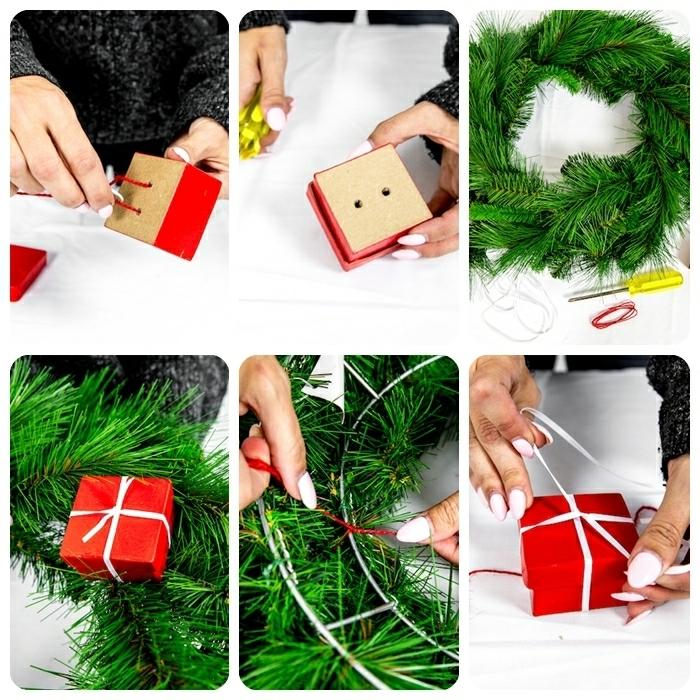 0 winterdeko basteln schritt für schritt anleitung winterkranz weihanchtskranz kranz selber machen geschenkbox