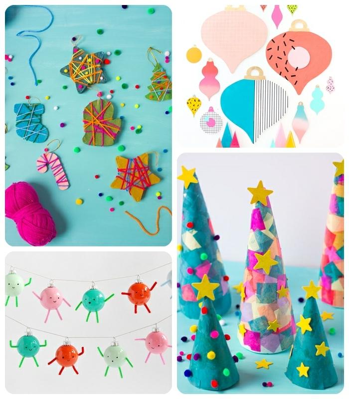 1 weihnachtsbasteln mit kindern diy deko zu weihanchten tolle bastelideen zum weihnachten tannenbäume aus papier papierschmuck selbstgemachte girlande
