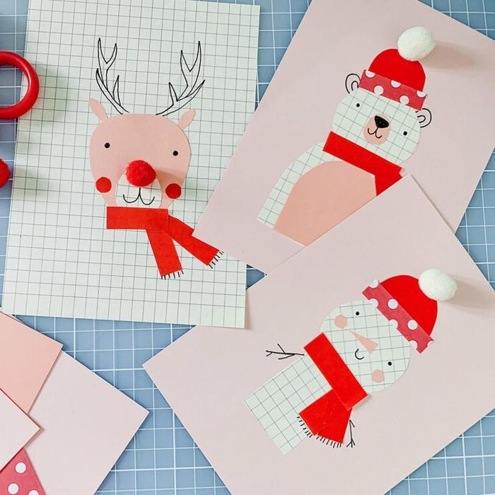 1 weihnachtsbasteln mit kindern weihanchtskarten schneeman bär hirsch aus papier bastelideen für den winter