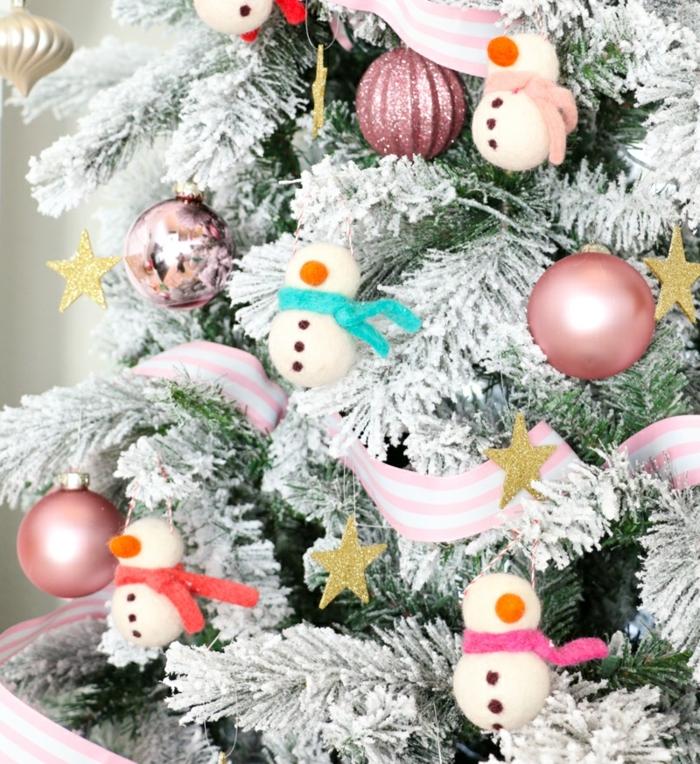 2 winterdeko basteln weihnachtskugeln selber machen schneemänner moderne weihnachtsdeko weißer tannenbaum
