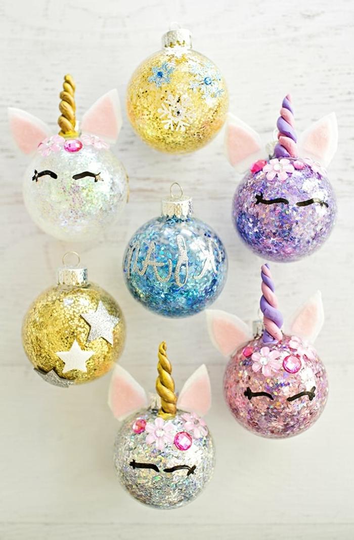 3 basteln mit kindern weihnachten und winter diy ideen weihanchtskugel selber machen einhörner weihanchtsschmuck