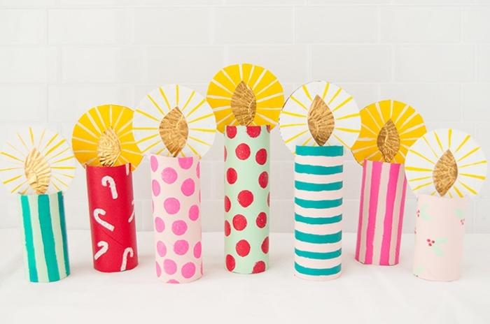 3 basteln mit kindern weihnachten und winter selbstgemachte kerzen aus buntem papier papierkerzen weihanchtskerzen machen schritt für schritt