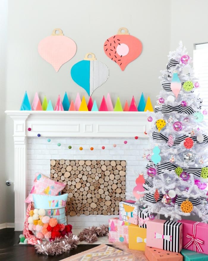 3 basteln mit kindern weihnachten und winter tannenbäume aus buntem papier dekorieren zu weihanchtsten wohnung festlich verschönern
