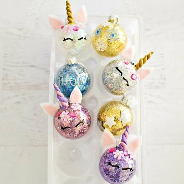 3 weihnachten basteln kinder winter weihnachtskugel einhörner gefüllt mit buntem glitzer konfetti