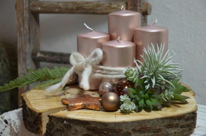 adventskranz holz selber machen scheibe mit vier rosa kerzen binden kugeln sterne kupfer pflanzen