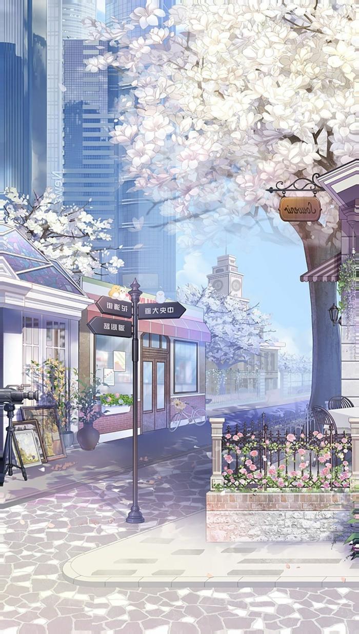 aesthetic anime wallpaper in der stadt blühende kirschenbäume straßen rosa pastelfarben