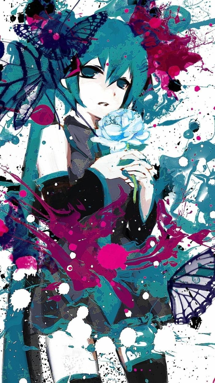 aesthetic anime wallpaper mädchen in lila blau weiße kleidung abstrakt blaue schmetterling rosa im hand