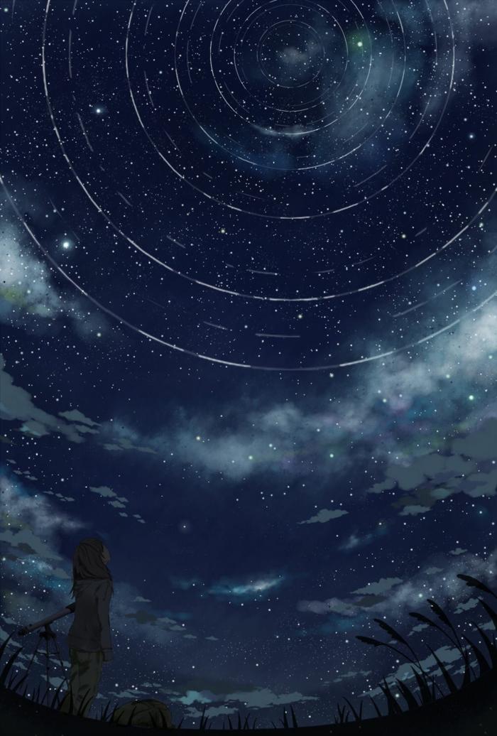 aesthetic anime wallpaper mädchen schaut die sternen dunkle nacht