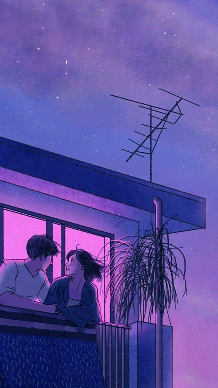 aesthetic anime wallpaper mädchen und mann an der terrasse wohnung romanitisch himmel lila rosa untergang
