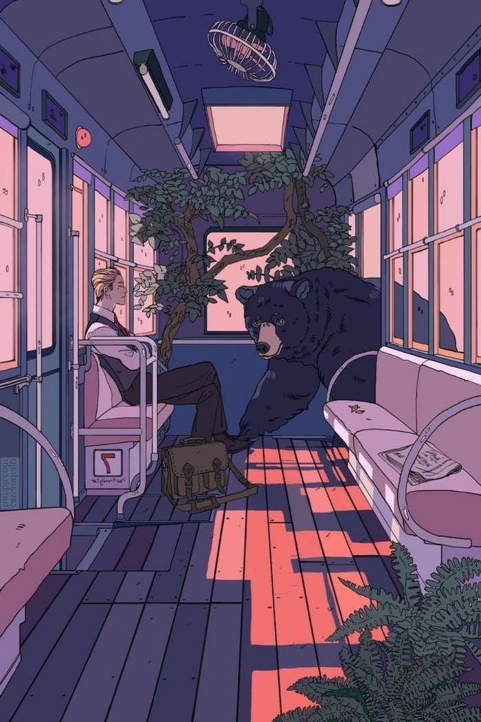 anime aesthetik wallpaper phone junge im bus sitzen bär kommt baume lila farben