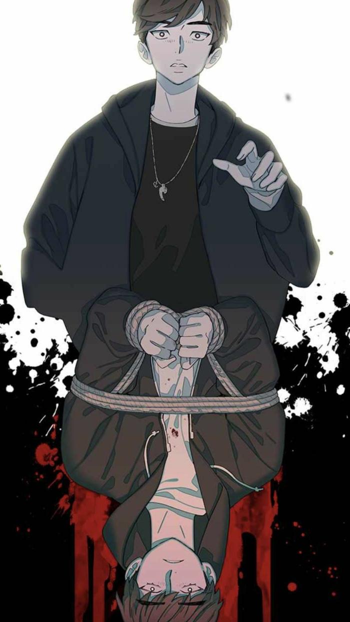 anime boy wallpaper für handy zwei jungen in schwarz untereinander weißer hintergrund
