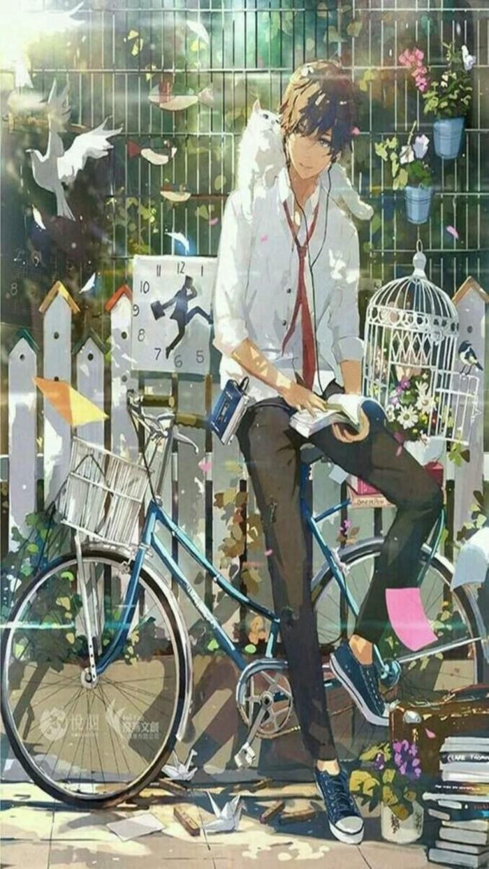 anime boy wallpaper handy junger mann sitzt auf blauem fahrrad buch taube fliegt käfer