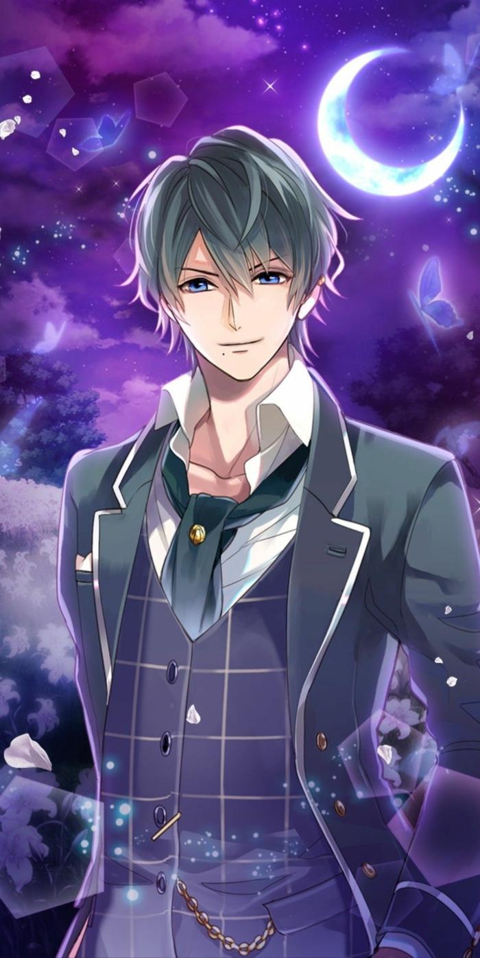 anime boy wallpaper iphone junge in anzug grau lila hintergrund wolken mond