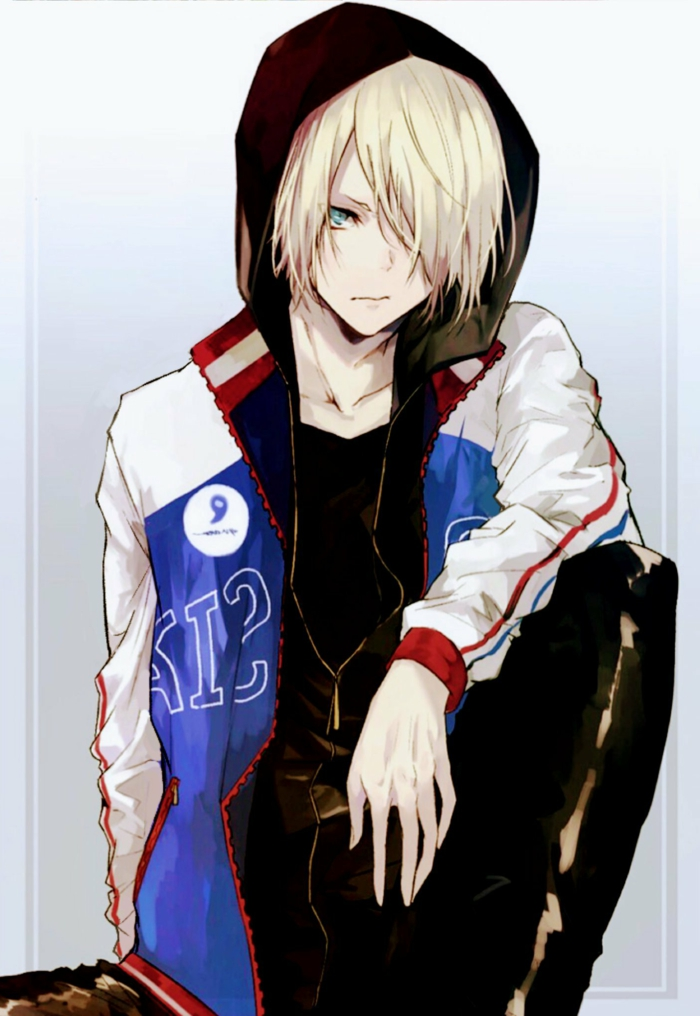 anime boy wallpaper iphone junge in hoddie weiß rot blau blonde haare