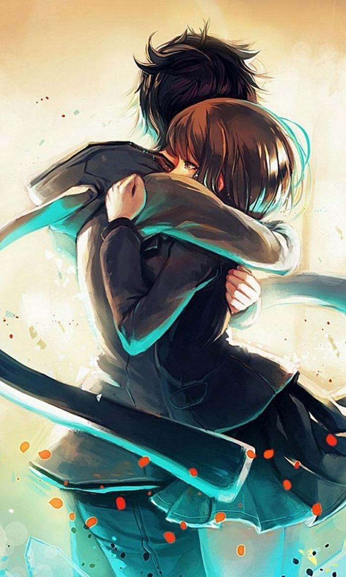 anime boy wallpaper junge und mädchen sich umarmen romantisch blau schwarz