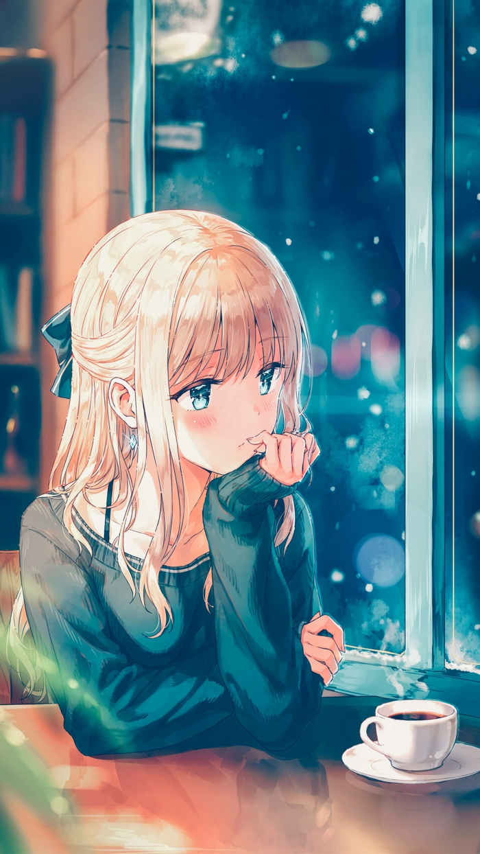 anime girl wallpaper handy mädchen im kaffee sitzt durch das fenster sehen blau rosa