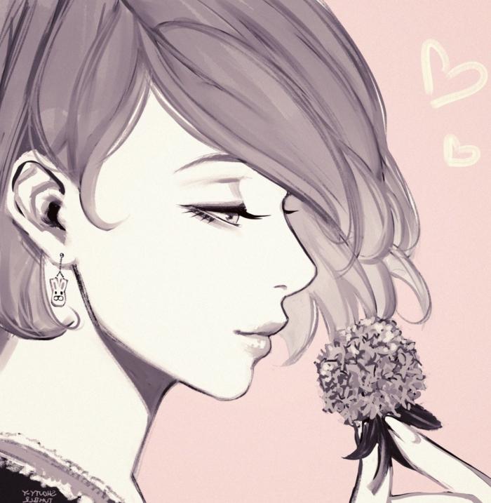 anime girl wallpaper handy mädchen mit blume im hand hell rosa töne