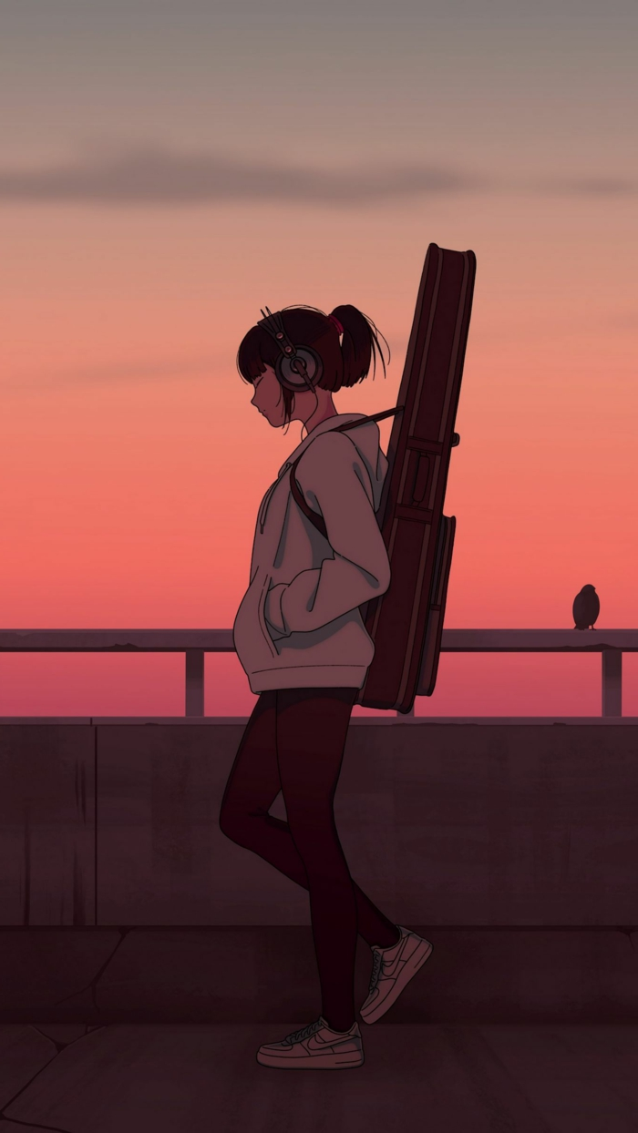 anime wallpaper iphone mädchen musik mit guitar rosa lila himmel sonnenuntergang