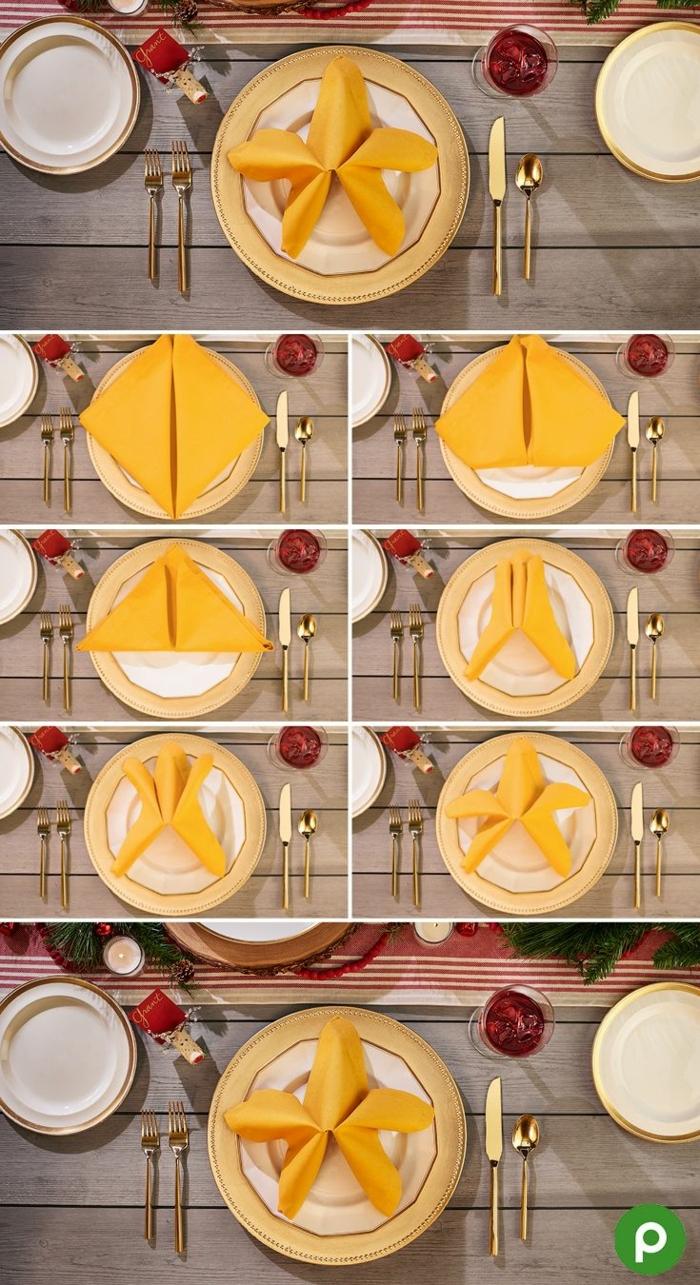 anleitung diy servietten falten einfach und schnell papiersevietten weihnachtsstern aus serviette machen erklärung