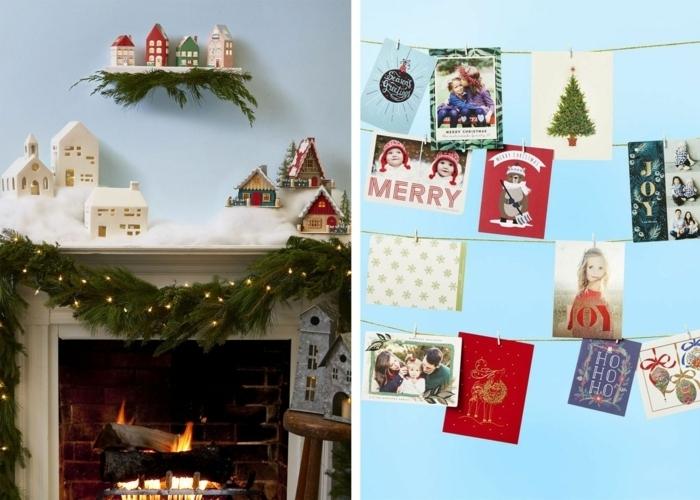 außgefallene weihnachtsdeko selber machen kamin festlich dekorieren viele kleine bilder girlande aus zannenzweigen und lichterketten weihnachten basteln