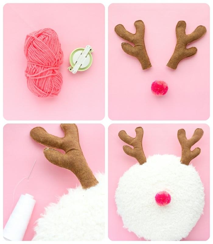 bastelideen für weihanchten diy geschenk für mutti weißer runder kissen nase aus rosa garn geweih